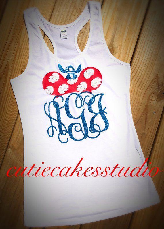 0cd271518 Disney shirt ohana lilo and stitch animal kingdom mickey minnie monogram Tank  top Disney Girl Baby T