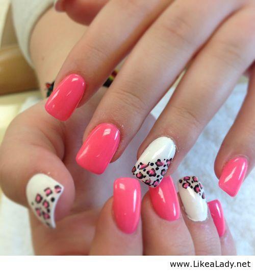 Pink And White Cheetah Print Acrylic Nails