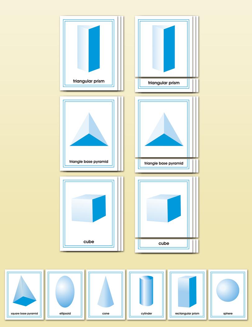 geometric solids matching cards montessori research and development montessori materials. Black Bedroom Furniture Sets. Home Design Ideas