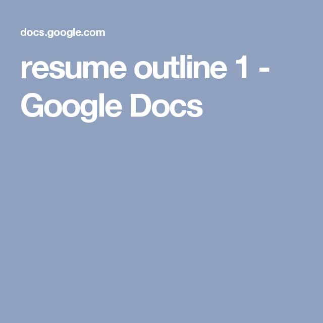 resume outline 1