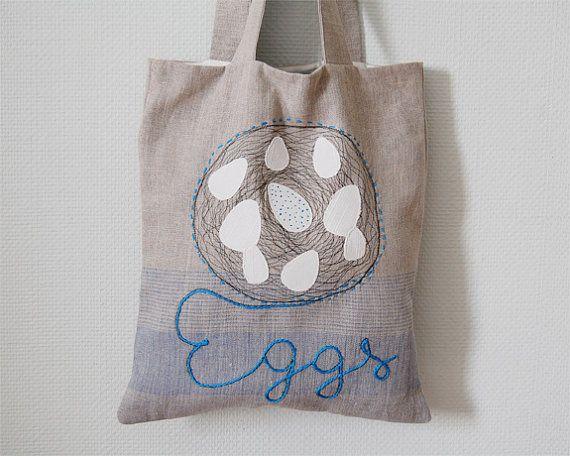 Linen tote bag. Garden Bag. Fresh Eggs. Applique tote bag. Shopping bag.. $27.80, via Etsy.
