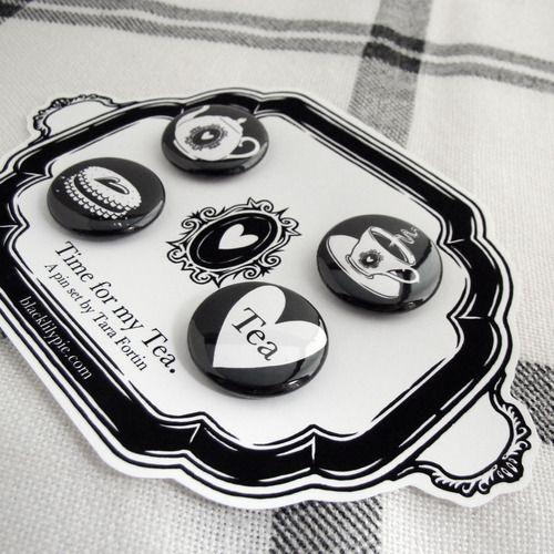 tea themed pin set