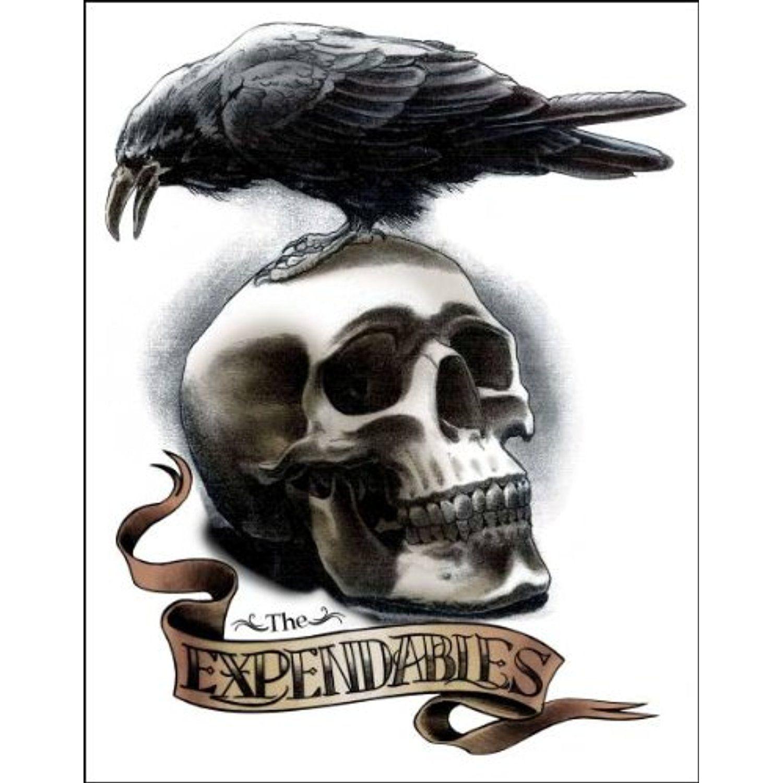 Skull with Crow Temporaray Tattoo