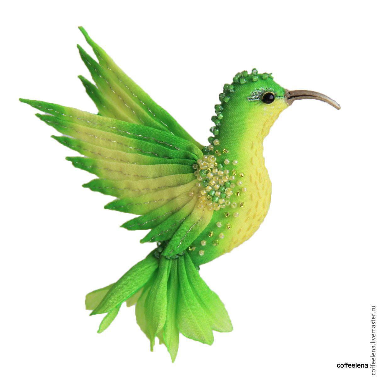 Купить Брошь-колибри «Примула». Шёлковая брошь-птичка. - ярко-зелёный, брошь птица