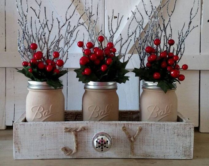 Christmas Mason Jar Centerpiece Christmas Centerpiece Joy Centerpiece Christmas Joy Centerpiece Rust Christmas Jars Christmas Decor Diy Christmas Diy