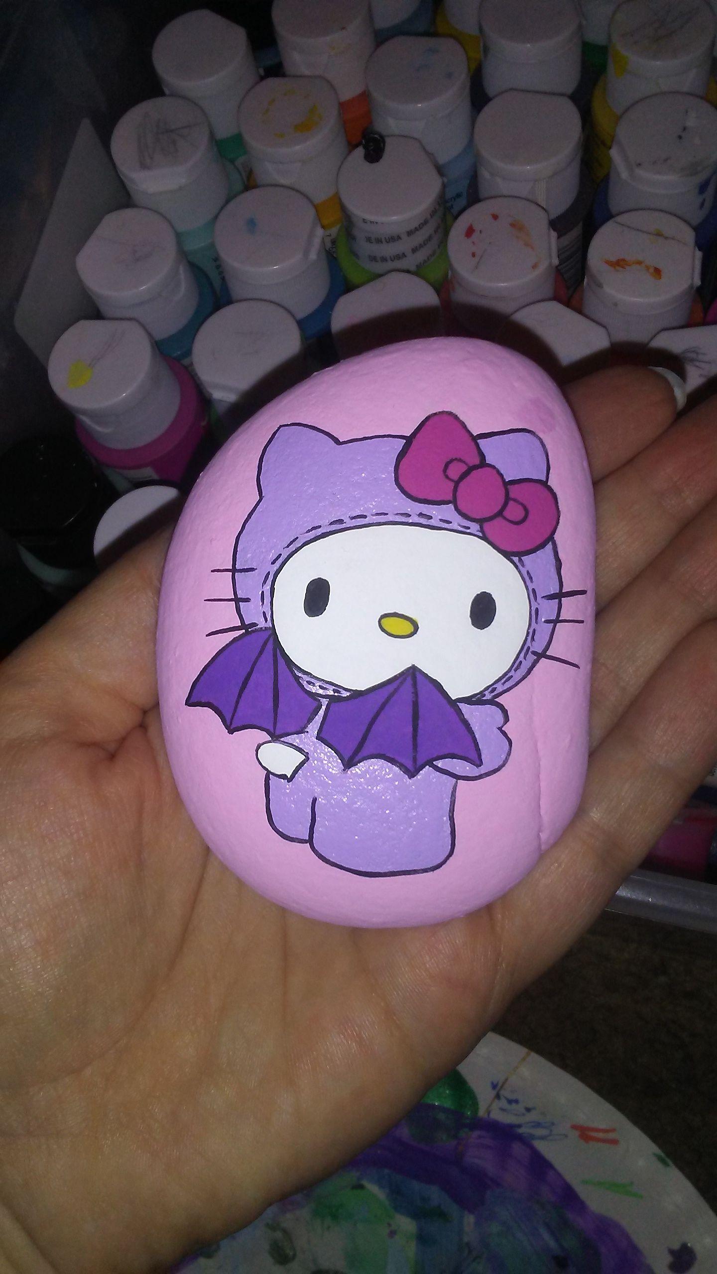 Hello Kitty Halloween Bat Painted Rock