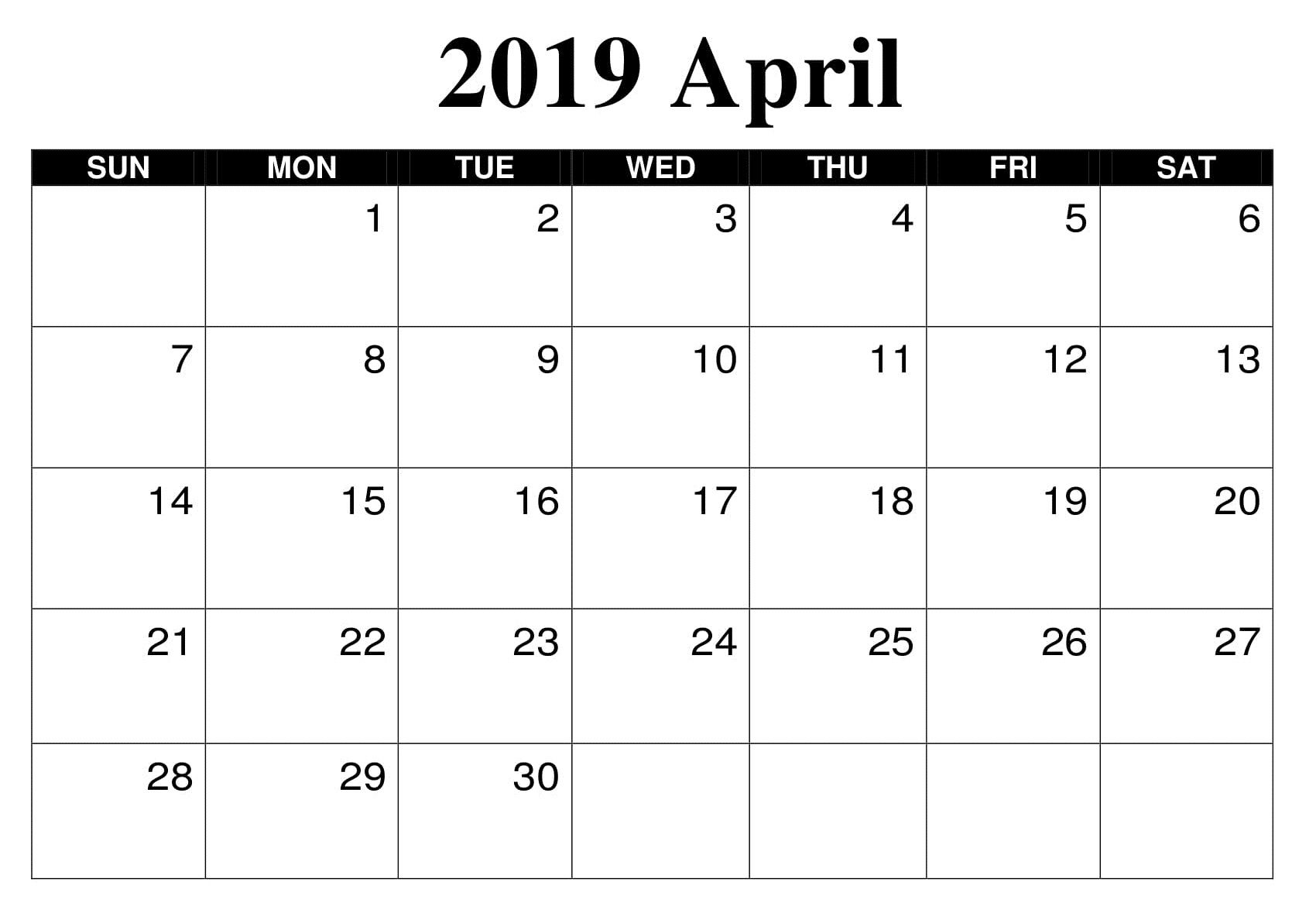 image regarding April Printable identified as April 2019 Printable Reminders Calendar Calendar April