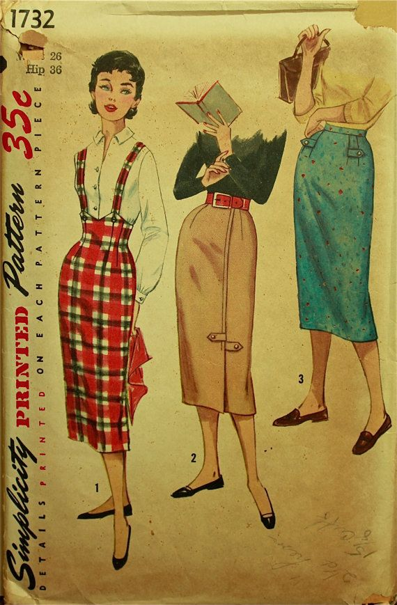 R964 1950s Vintage Sewing Pattern SKIRT W28