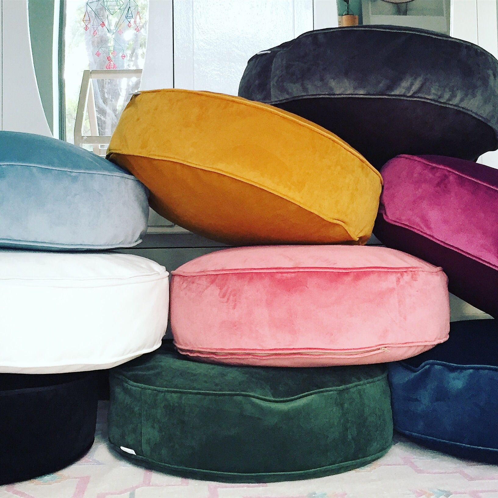 Stunning soft luxury round boxed floor cushion fully piped edges for