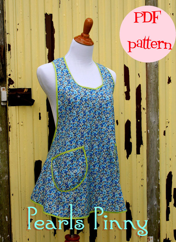 Instant Download Pearls Pinny A Vintage Feedsack Style Kitchen Etsy Aprons Patterns Apron Sewing Pattern Easy Sewing