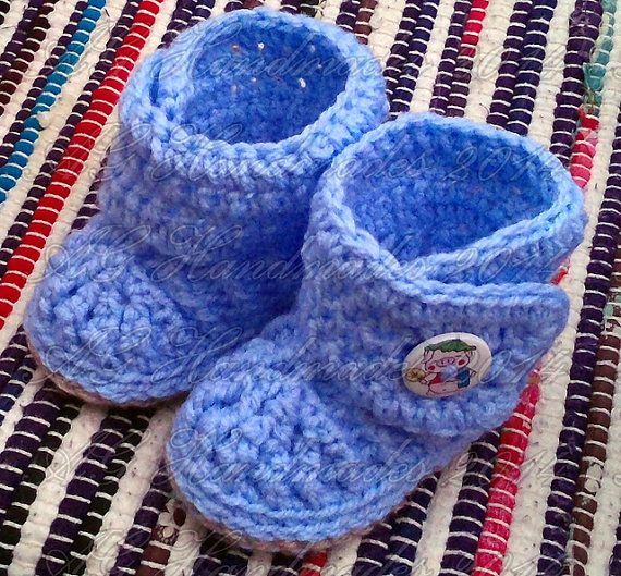 Bryce Baby Booties; PDF Crochet Pattern; 3-6 months; Instant Download; US and UK versions