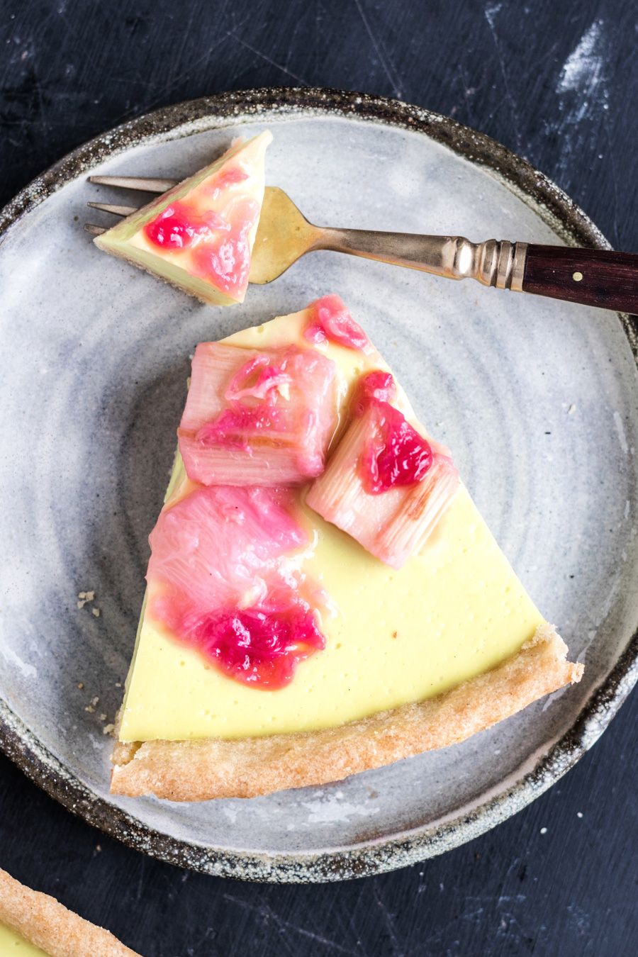 Vegan Rhubarb Custard Tart! A wave of silky smooth, sweet vanilla custard followed by a bright and tangy kick of rhubarb. | www.myvibrantkitchen.com
