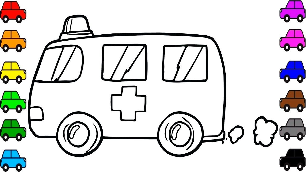 Toy Ambulance Coloring And Drawing Learn Colors For Kids Amazing Kids Coloring For Kids Learning Colors Valentine Coloring Pages