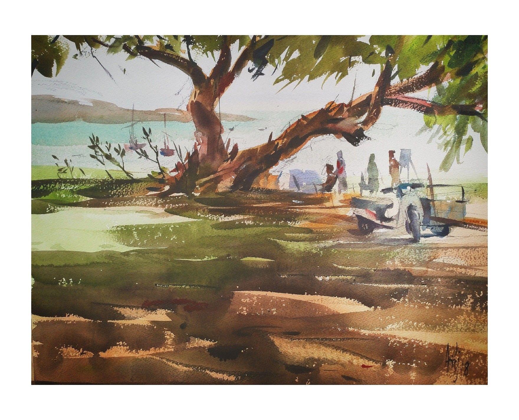 บางสเร่ Watercolour painting, Plein air, Watercolor