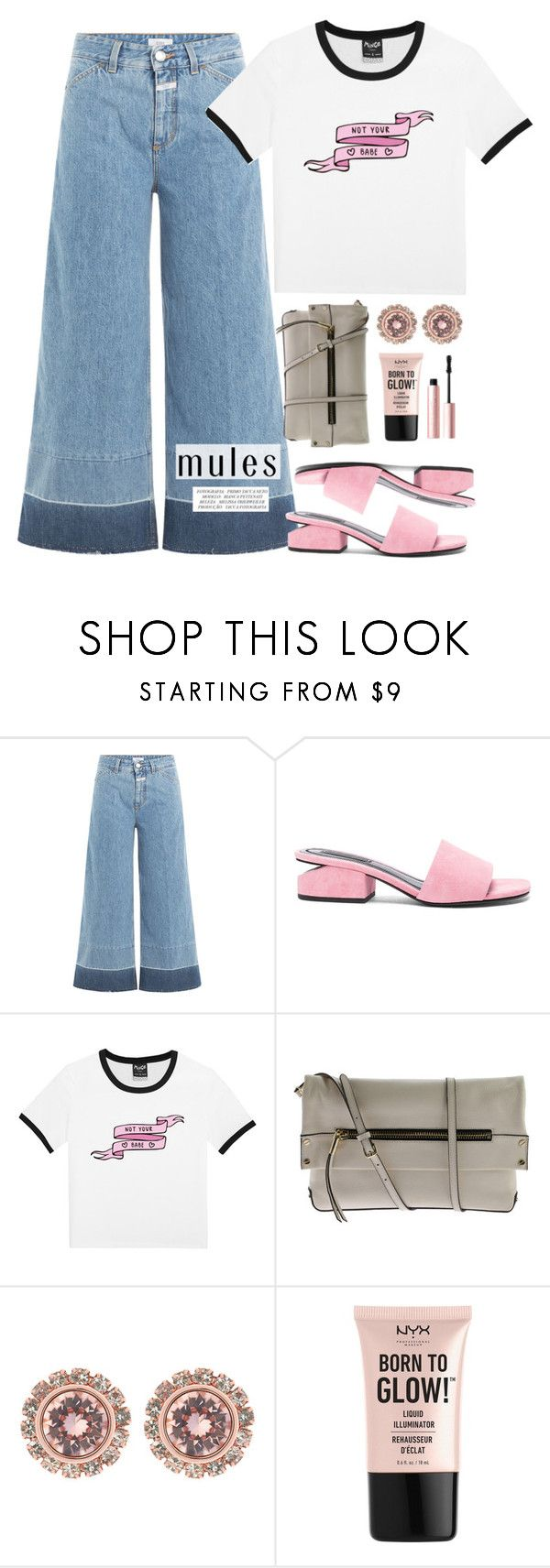 """""""Pink mules & denim culottes"""" by anja-jovanovich ❤ liked on Polyvore featuring Closed, Alexander Wang, Vince Camuto, Ted Baker, NYX and Too Faced Cosmetics"""