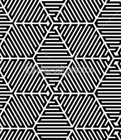 leaves pattern black and white hexagons