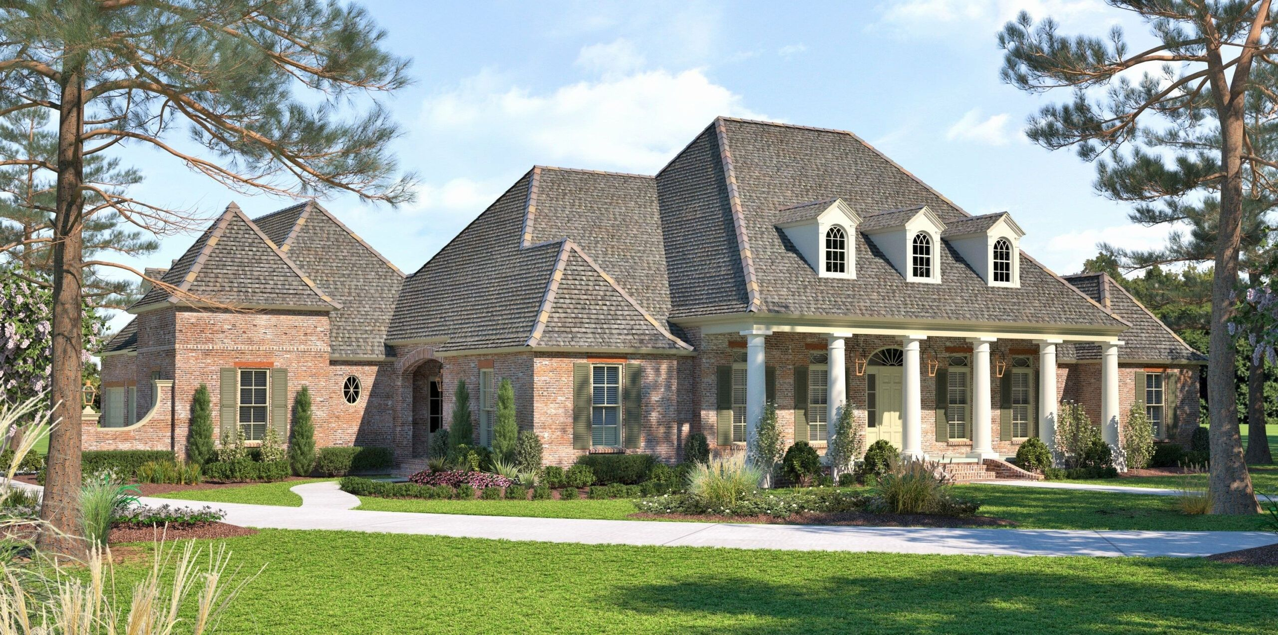 Craftsman House Plans With Porte Cochere In 2020 Acadian House Plans Craftsman House Plans French House Plans