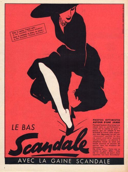 1952 Scandale stockings advertisement. Illustration by Rene Gruau. #vintage #1950s #hosiery