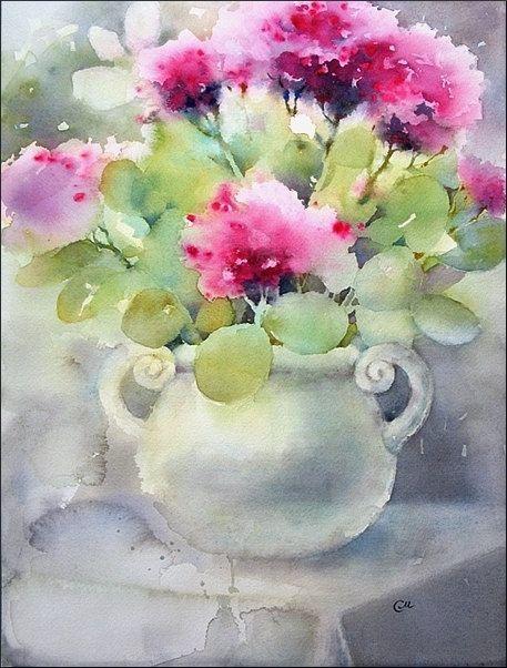 Stonecrops pittura acquerello originale 12 x 16 di CMwatercolors