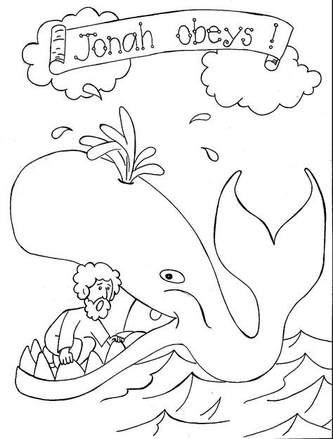 jonah-and-the-whale-coloring-page-3 | Bible coloring pages | Pinterest