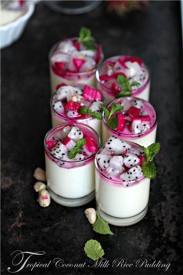 Tropical Coconut Milk Rice Pudding Recipe with Dragon Fruit & Rambutans