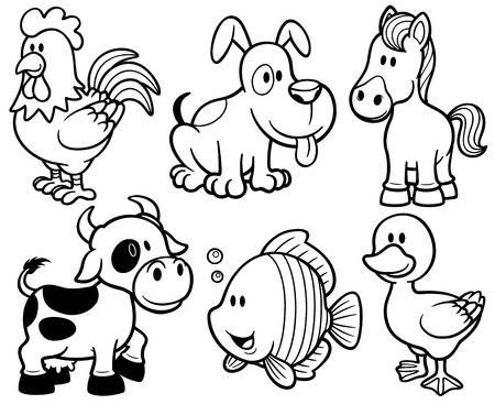 Vector Illustration Of Animals Cartoon Coloring Book In 2020 Animal Coloring Books Coloring Books Puppy Coloring Pages