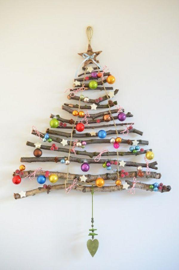 bastelideen zu weihnachten wand weihnachtsbaum