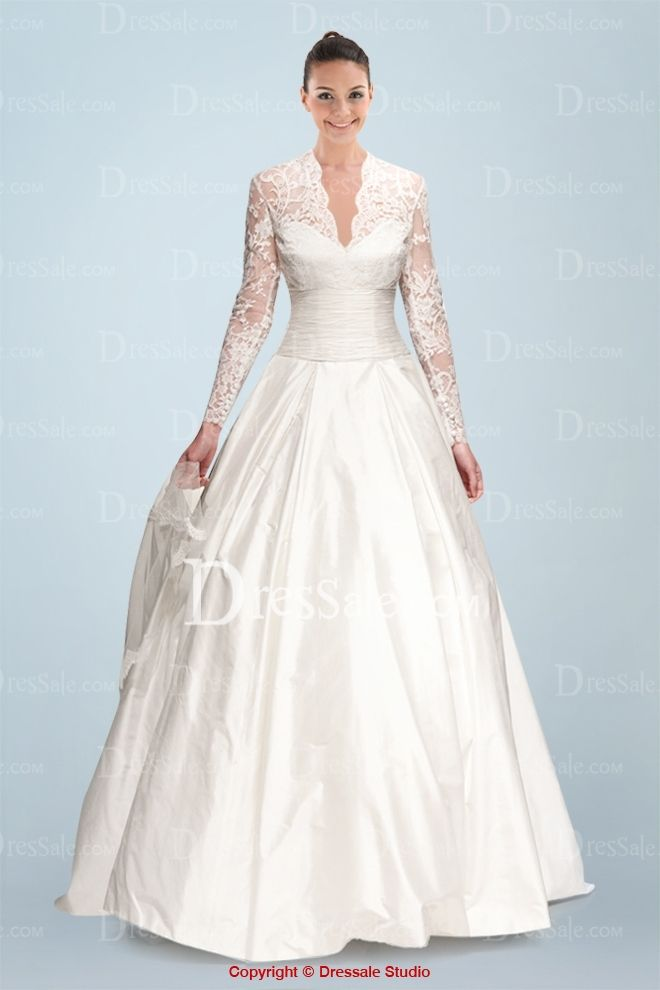 Modest Queen Anne Neckline A Line Wedding Dress With Ruched Waistline And Illusion Long Sleeves