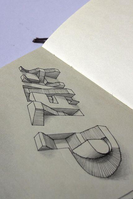 Lex Wilson Moleskine Illustration 23 Help 3d Typography