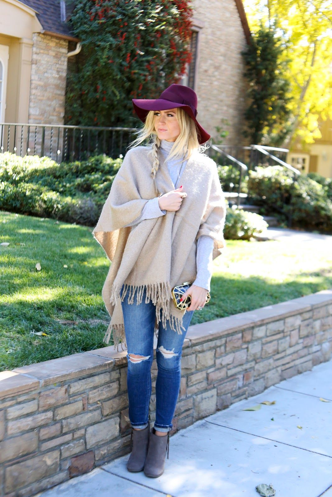 Cashmere wrap and distressed denim