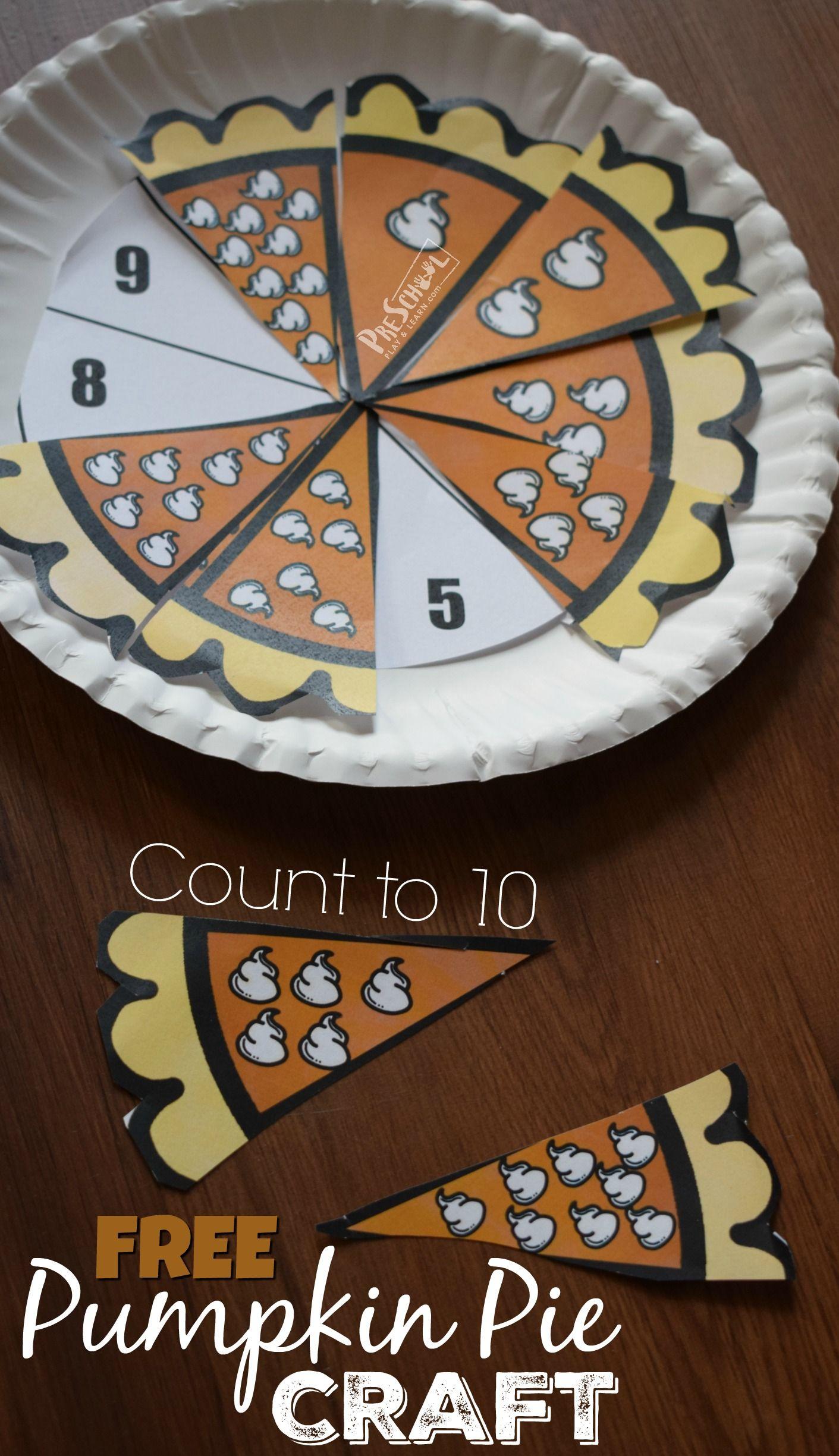Free Count To 10 Pumpkin Pie Craft