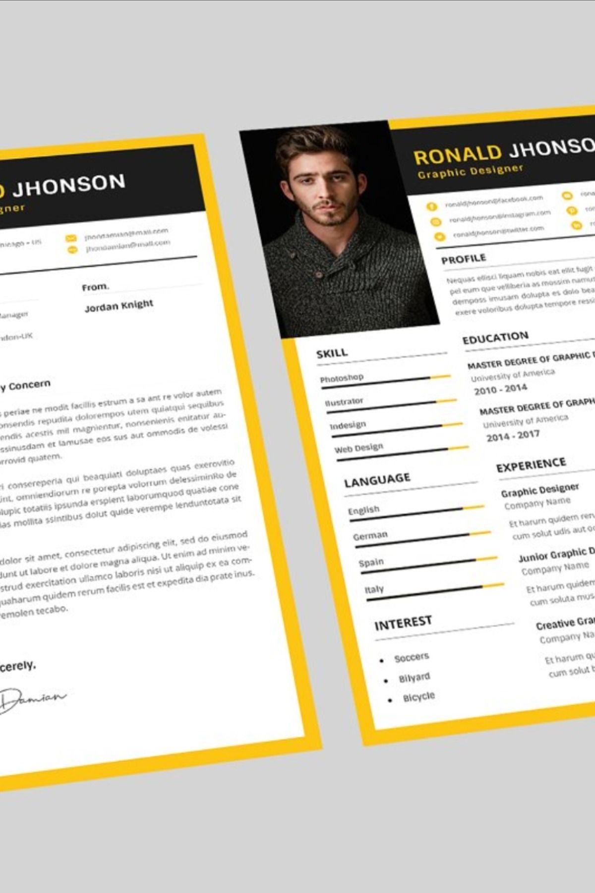 Ronald Graphic Resume Designer in 2020 Graphic resume