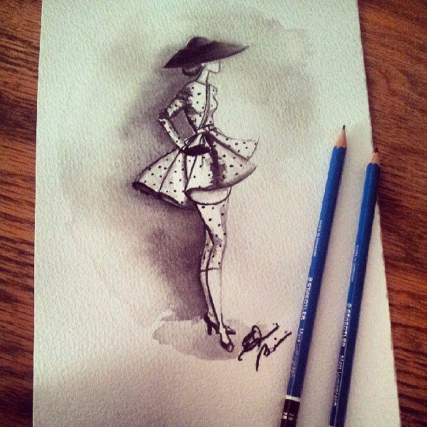 #hat #hautecouture #haute #couture #dress #drawing #retro #sketch #elegant #elainebiss #polkadots #magazine #commision #fashion #fashionillustration #fashionwatercolor #fashionblog #illustrator #illustration #artist #art #artrep #paperfashionclass