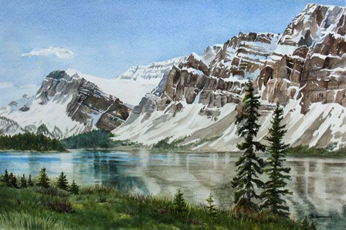 Featured Paintings By Debbie Homewood Canadian Watercolor Artist Watercolor Landscape Mountain Paintings Watercolor Mountains