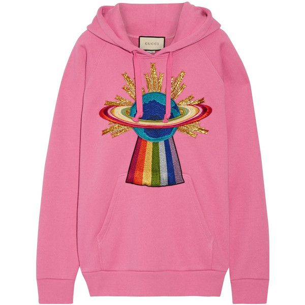 e2ebeae3558ec Gucci Appliquéd cotton-jersey hooded top ($1,345) ❤ liked on ...