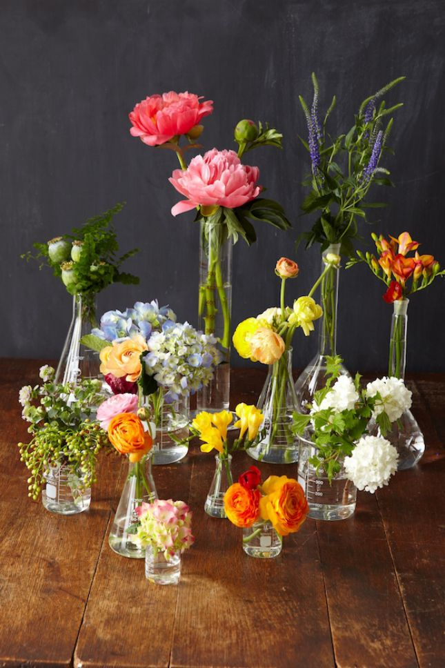 Use old science beakers as flower vases