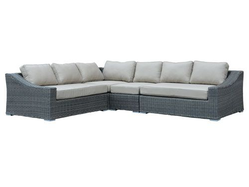 Deep Seating Design With A Low Back Sloping Arms And Curved Lines Half Round Woven All Weathe Sunbrella Fabric Cushions Deep Seating Outdoor Sectional Sofa
