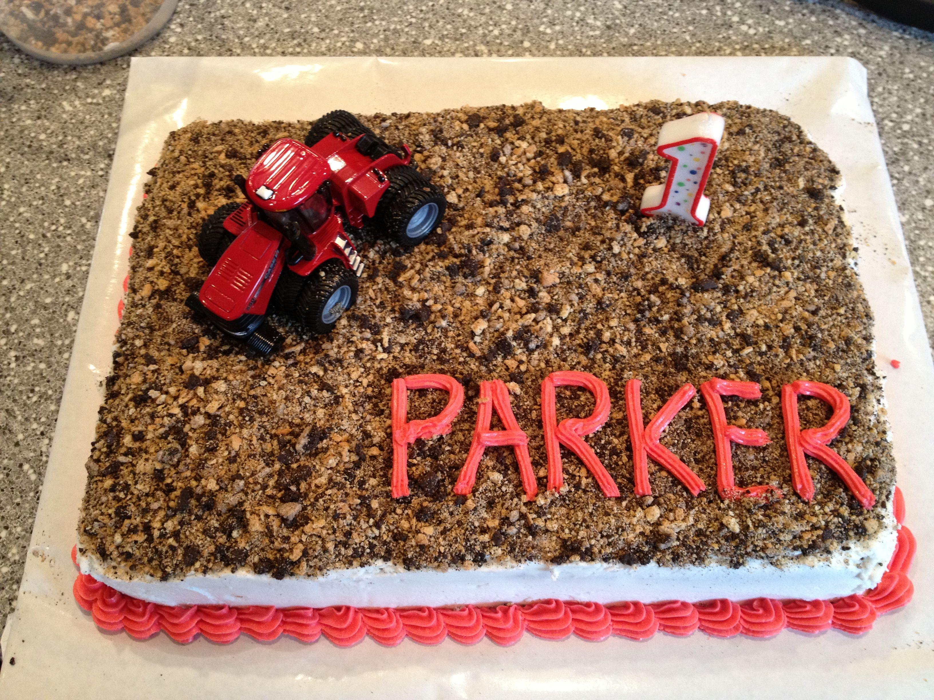 Farmall birthday cakegraham crackers and Oreos made the field