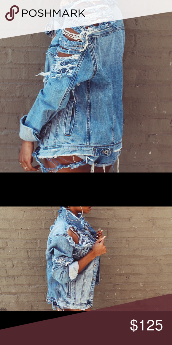 Distressed Denim Jacket distressed denim jacket men s medium fits like a  woman s large perfect for that oversized look Jackets   Coats Jean Jackets 58cbd4b52124