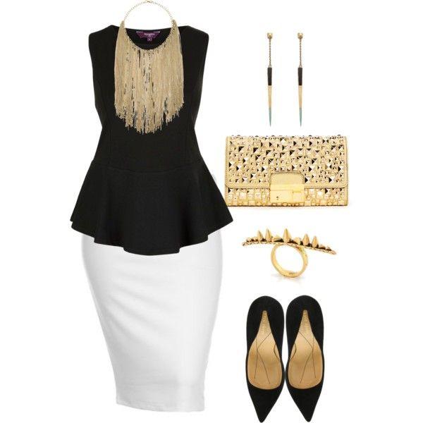 Black White Gold Plus Size Pencil Skirt White Fashion