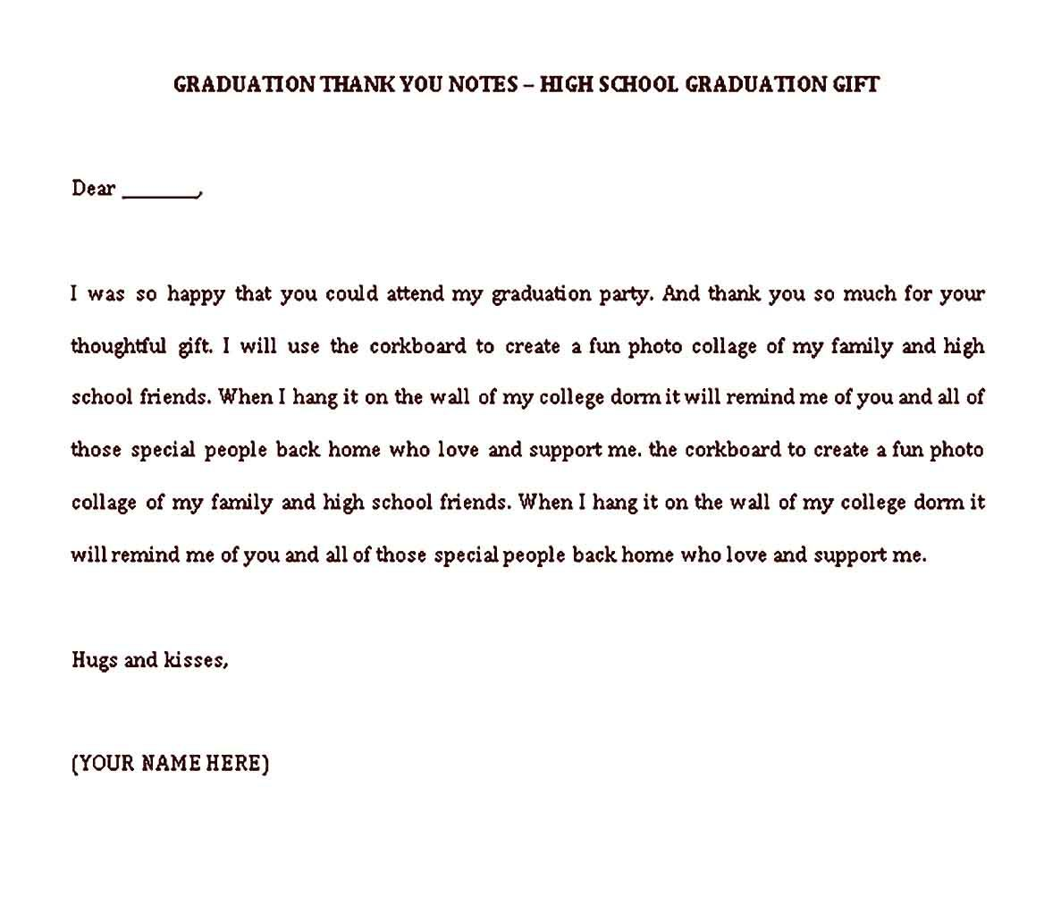 Sample Graduation Thank You Note Template