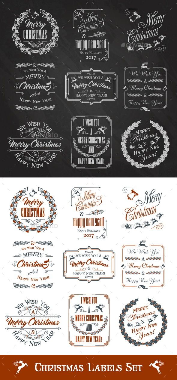Christmas Greeting Labels | Ai illustrator, Label templates and Template