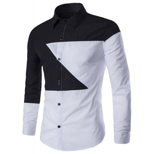 Casual Shirt Collar Color Lump Splicing Slimming Men's Long ...