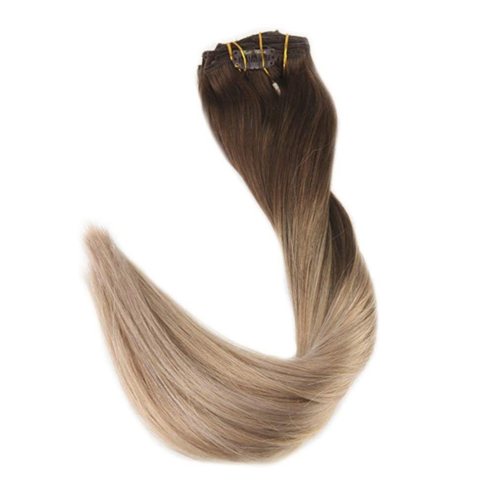 Full Shine 20 inch 100 Human Hair Clip in Extensions Full