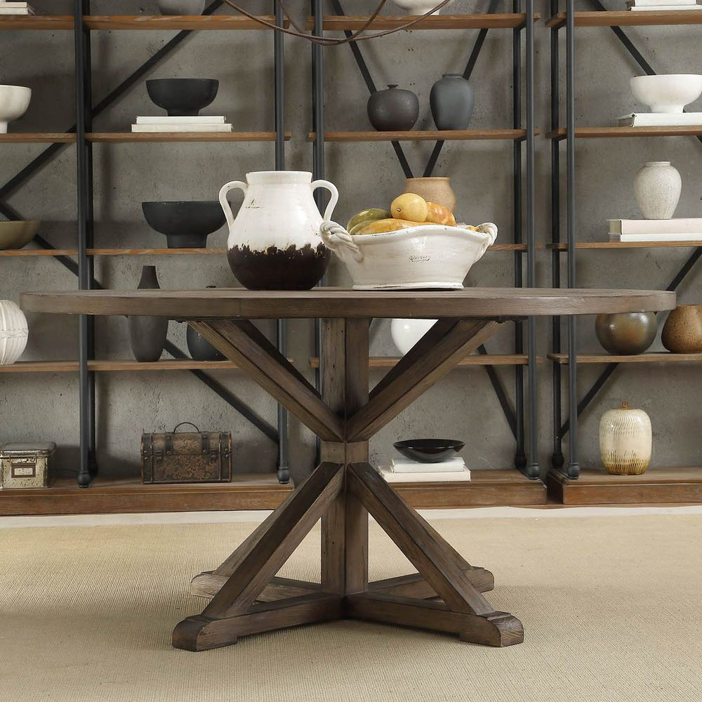 Tribecca Home Benchwright Rustic X Base 60 Inch Round Pine Wood