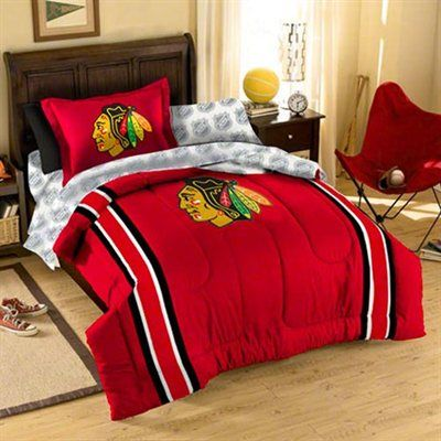 chicago blackhawks red five piece twin bedding set