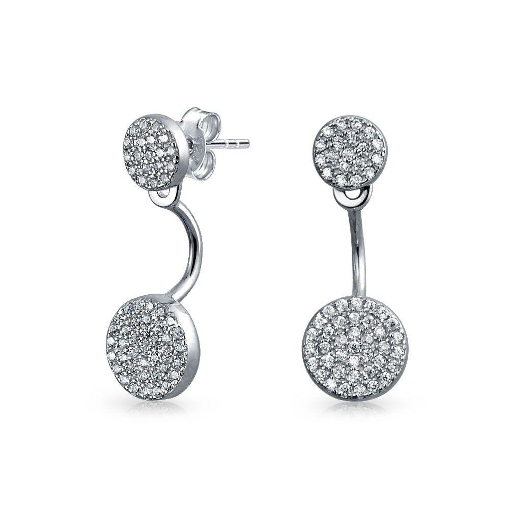 Minimalist Geometric Round Bezel CZ Studs Fan Removable Ear Jacket Drop Earrings For Women Front Back Sterling Silver