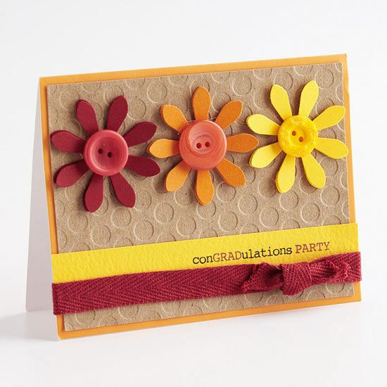 Easy Graduation Cards and Invitations Button cards, Flower button