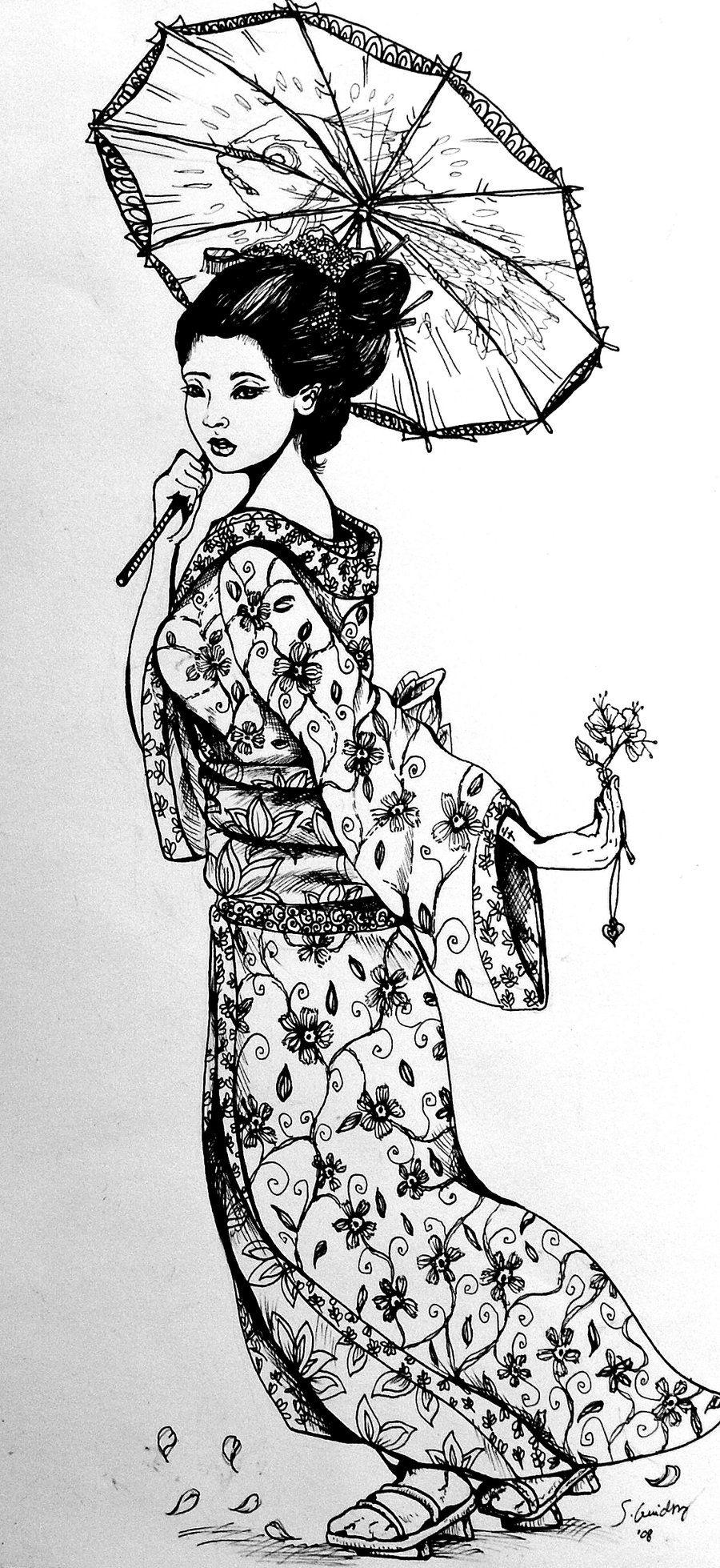 Annabella 67 Art Line Design : Asian art geishas geisha ink by segdavinci on deviantart
