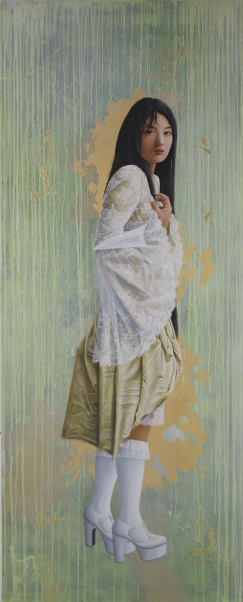 The Girl who Shows You. 200 X 90 cm.  oil on linen. Available.